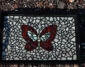handmade beach glass mosaic butterfly serving tray