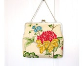 Silk Lined Linen Floral Tote Frame Kisslock Clutch Bridesmaid Bride Wedding Gifts