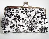 Kisslock Clutch Silk Lined Black and White Forest Silhouette Frame Bridesmaid Bride Wedding Gifts Preppy Prep Bridal