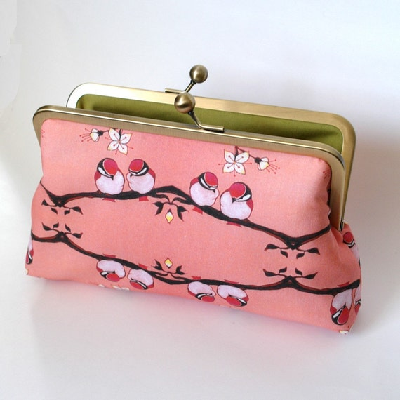 Kisslock Frame Clutch Silk Lined Pink Birds on a Branch Bridesmaid Bride Wedding Gifts Preppy Prep Bridal