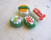 Teensy little SUSHI lampworked glass beads- free shipping