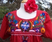 Vintage mexican embroidered Gypsy Boho dress Oaxacan M L XL Bohemian with embroidery blue birds and flowers Up to Plus Size