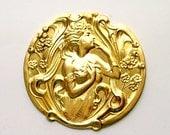Art Nouveau Goddess of Memory Brass Stamping