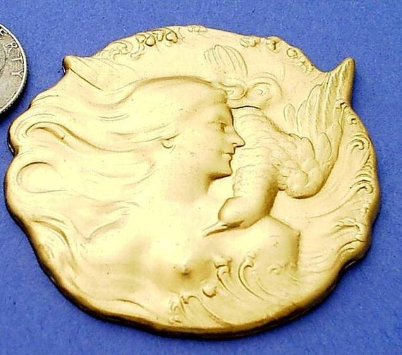Venus and the Dove Art Nouveau Brass Stamping