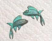 Fanciful Brass Fish Verdigris Patina Two Pair