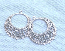 Filigree Hoops  In Silver One pair
