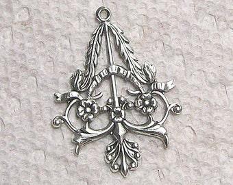 Art Nouveau  Charm In Silver 2 Pieces