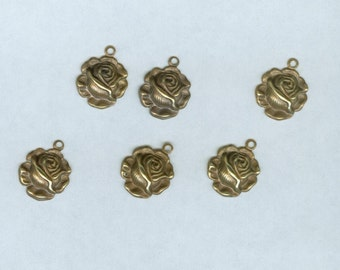Tiny Roses  Brass Vintage Finish 12 Pieces