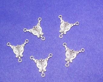 Three Link Connector In Silver 6 Pieces