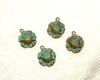 Tiny Roses  Brass With Verdigris Finish 12 Pieces