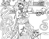 Steampunk Crazy Cat Lady Original Pen and Ink Drawing