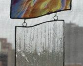 Stained glass blue, brown hanging, window sun catcher