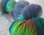 EARTH DAY Hand Painted Superwash Merino Wool Sock Yarn- Free shipping