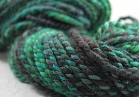 Dark Water - Hand Spun wool/mohair Yarn - Free Shipping