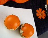 Vintage Orange Clip On Earrings - With Ivy Leaf Motif