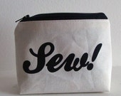 Closing Sale - Limited Edition Sewing Kit v2 - Canvas Screenprint Pouch with Gray Gingham Lining