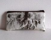 Closing Sale - Beige and Brown Floral Print Linen Pen/Pencil Case