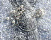 Shawl Pin Beaded Bouquet in silver with crystal and pearl for knit & crochet shawls, scarves and sweaters.