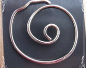 Simple SWIRL Shawl pin in  silver, copper or brass. Use with your knit, crochet or weaved clothing.