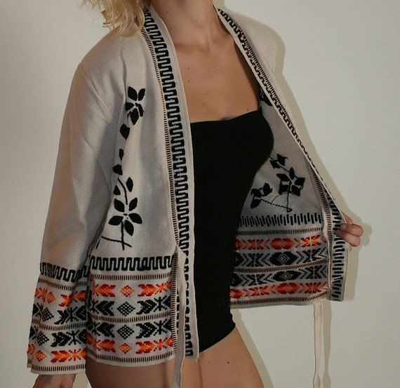 Vintage 70s Belted Sweater Jacket  with Bell Sleeves