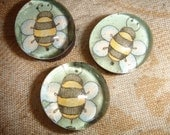 Bumblebee Glass Marble Magnets - set of three