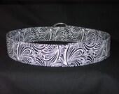 Black and White Swirl Fabric Print Belt