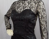1960s form fitting black lace gown