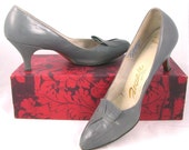 1960s gray leather shoes by Palizzio New York 7.5