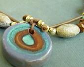 SALE Lavander Ceramic Pendant and Leather choker