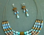 SALE Wood and Blue Turquoise Multi Strand Necklace AND EARINGS