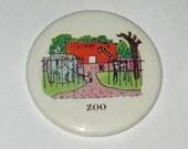 SALE Colorful Happy Zoo Mirror Button