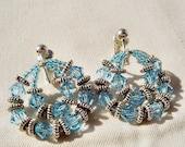 Tropical Blue Crystal Hoops Earrings by Diana