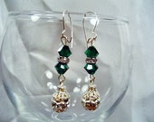 SALE-Elegant Emerald Crystals Earrings by Diana