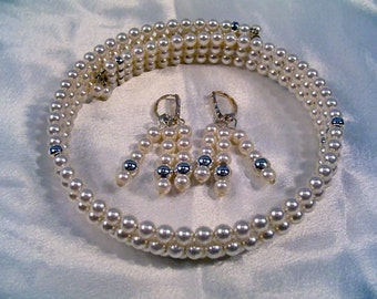 SALE-Ivory Opulence Necklace and Earring Set by Diana
