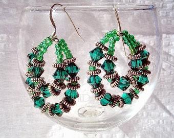 SALE-Green Crystal Hoops Earrings by Diana