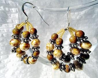 SALE-Earthy Hoops Earrings by Diana