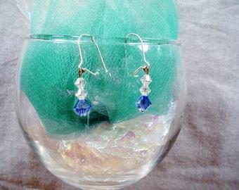 SALE-Crystal Blue Radiance Earrings by Diana