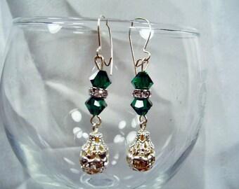SALE-Elegant Emerald Crystals Earrings by Diana