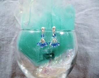 SALE-Crystal  Blue Flourish Earrings by Diana