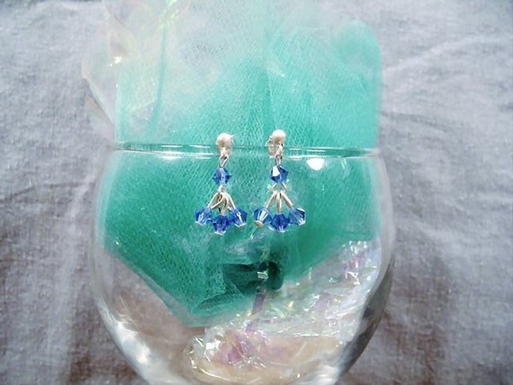 SALE-Crystal  Blue Flourish Earrings by Diana