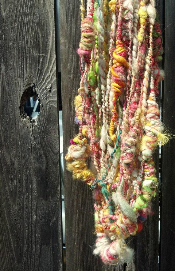 Pastel Slug Party- hand spun art yarn