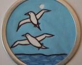 Original Hand Painted Sea Bird Pendant