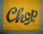 Chop T-shirt (Brown print on Yellow shirt, Medium)
