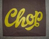 Chop T-shirt (Yellow print on Brown shirt, Large)