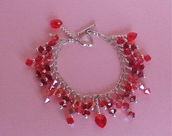 Red Swarovski Crystal Cha Cha Bracelet - Red Crystal Hearts on Sterling Silver Chain - Red Swarovski Crystal Wire Wrapped Charm Bracelet