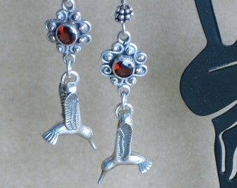 Hummingbird Earrings - Garnet Earrings - Sterling Silver Hummingbird with Sterling and Garnet Connector Long Dangle Earrings