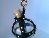 Studded Leather Wrapped Steampunk Bottle (Hanging Globe)