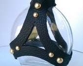 Studded Leather Wrapped Steampunk Bottle (Flat Oval)