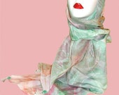 Pink and Green Silk Scarf