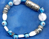 Blue, Silver and White - Bracelet and Earrings